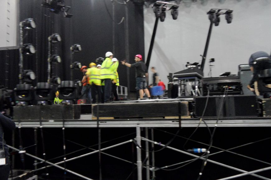 Busy tearing down on stage.