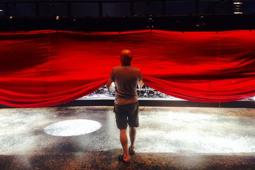 Helping prep the BtD Kabuki curtain during production rehearsals back in August.