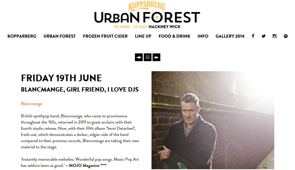 With Blancmange at Kopparberg Urban Forest